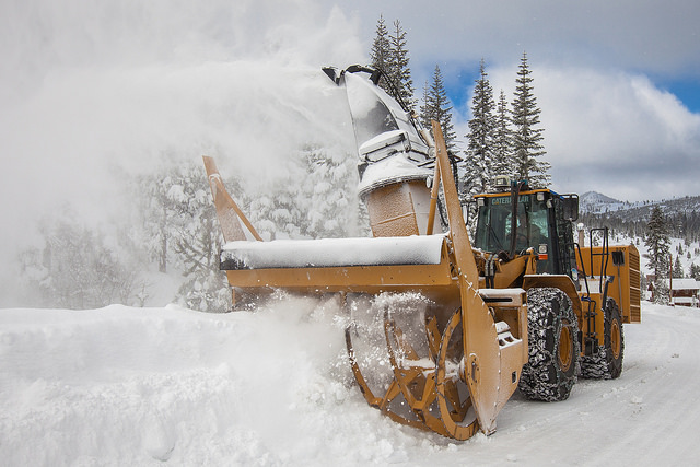 A photo of a Town snow blower in action