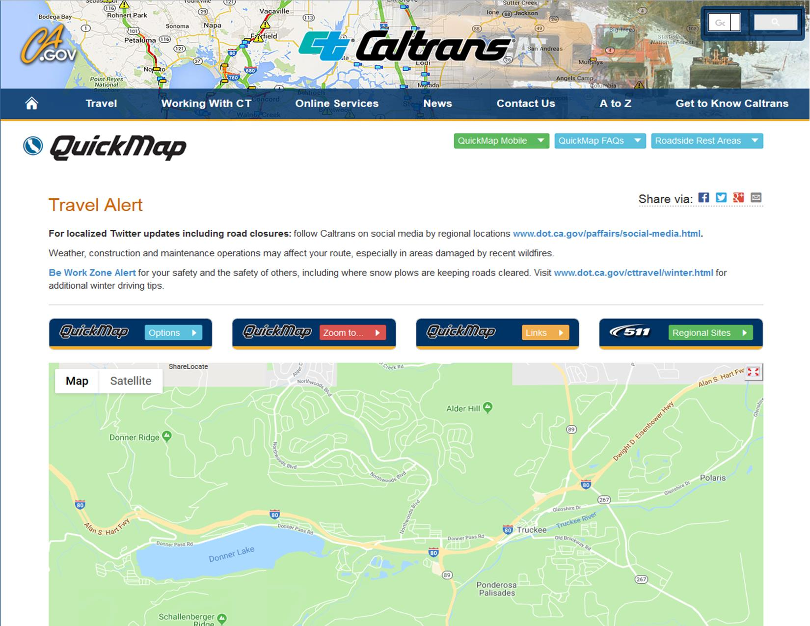 Caltran Traffic Map.Truckee 511 Yourgov And Caltrans Quickmap Town Of Truckee