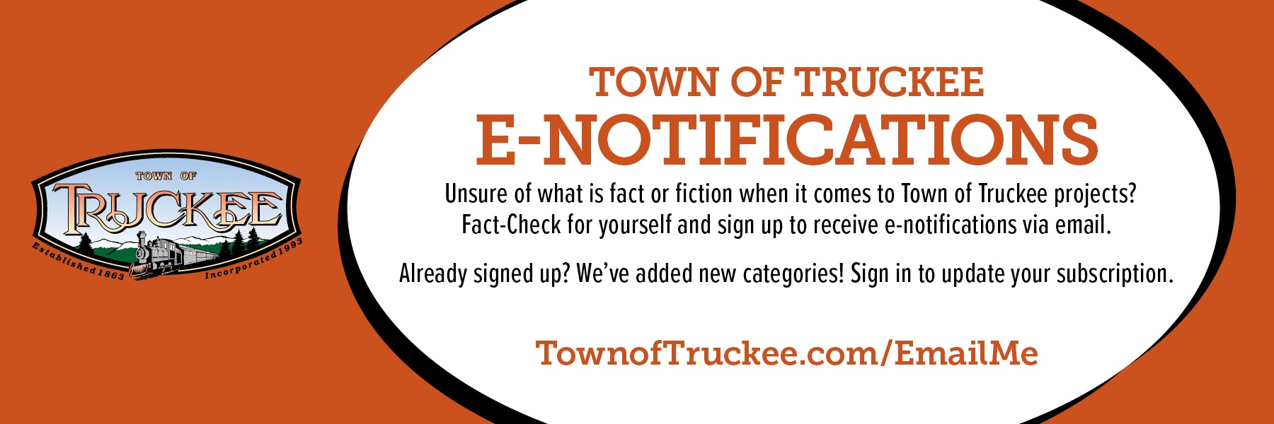 Town of Truckee e-notifications banner