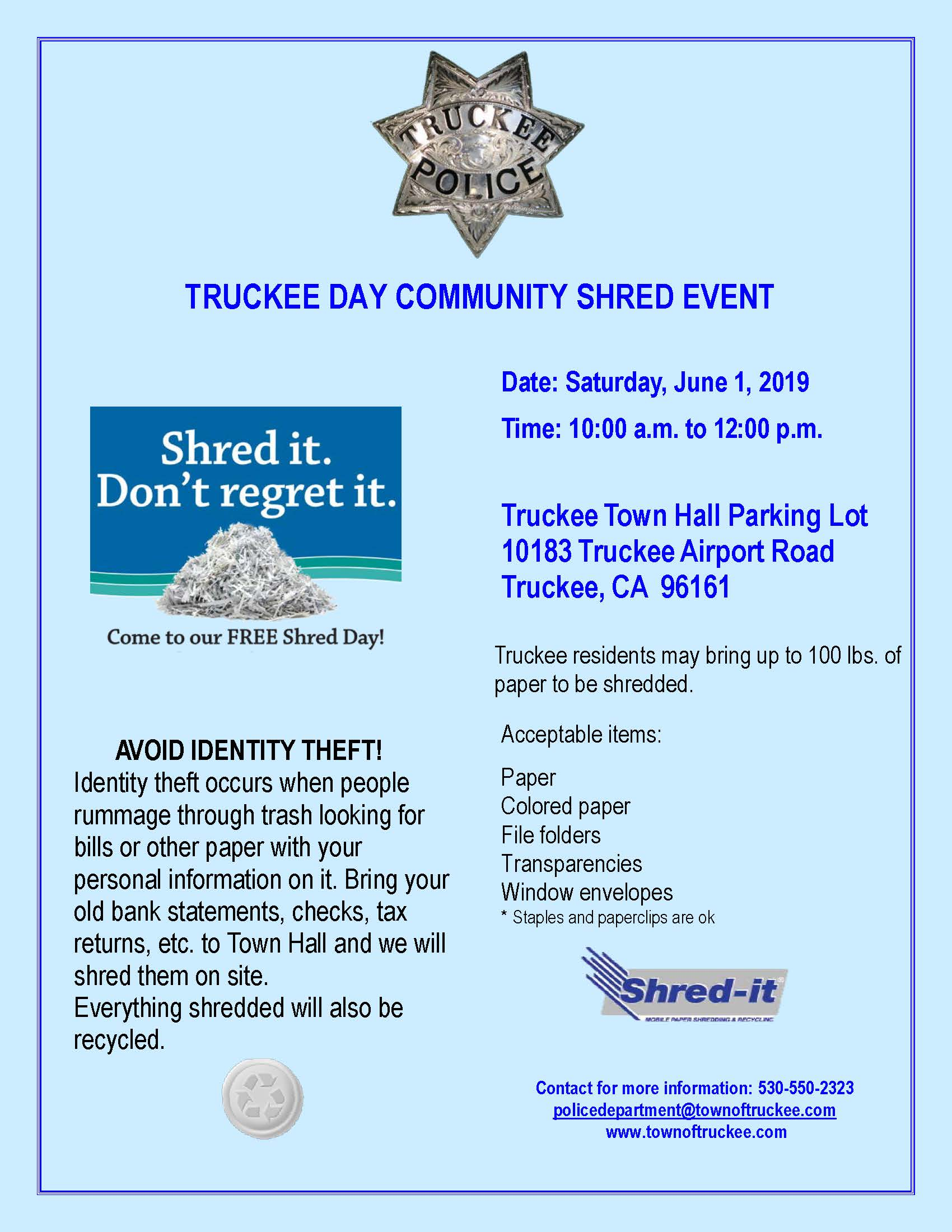 Community Shred Event 2019 | Event Calendar | Town of Truckee