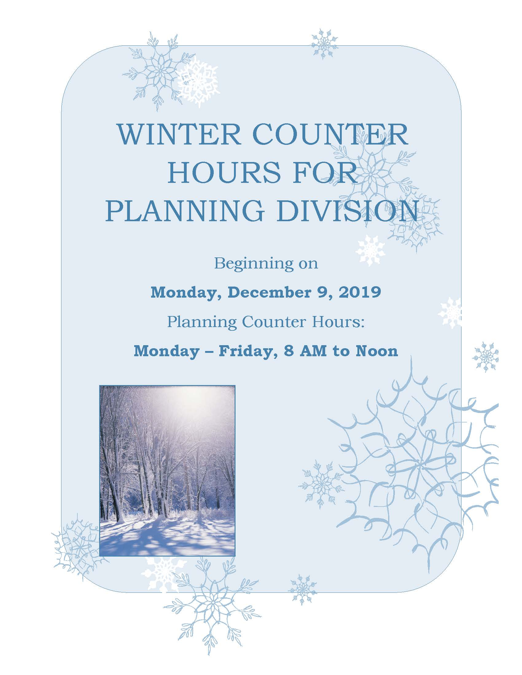 2019 Planning Winter Hours